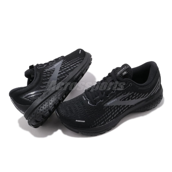 Brooks 慢跑鞋 Ghost 13 寬楦 全黑 透氣 針織鞋面 女鞋 避震緩衝 【ACS】 1203381D072
