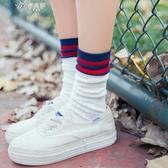 堆堆襪女韓國春秋薄款百搭純棉中筒襪韓版學院風日繫條紋潮流長襪伊芙莎
