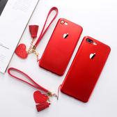 蘋果7手機殼紅色iphone6plus超薄硅膠殼中國紅ip8/6s磨砂軟殼7p女【七夕節好康搶購】