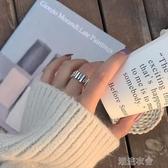 做舊感英文戒指女潮人日韓個性時尚笑臉小眾開口指環J210  潮流衣舍