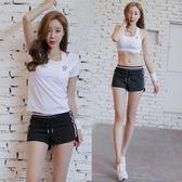 瑜伽運動套裝女顯瘦短袖短褲韓國專業健身房跑步速干衣