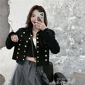 小香風外套女秋冬2021新款寬鬆短款設計感名媛氣質黑色牛仔上衣潮