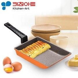 韓國進口Kitchen Art 亮麗橘鈦晶石玉子燒鍋/煎蛋鍋-19cm (1支) 鈦晶不沾鍋 煎蛋捲鍋 厚蛋燒鍋