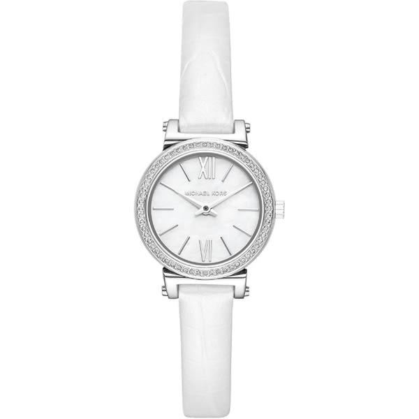 【台南 時代鐘錶 Michael Kors】MK2714 古典美學璀璨晶鑽典雅時尚腕錶 皮帶 珍珠貝 26mm 公司貨開發票