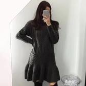 洋裝秋冬韓國chic輕熟風復古高領重工粗針麻花紋寬鬆荷葉邊針織洋裝 易家樂