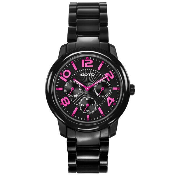 GOTO 躍色潮流時尚陶瓷腕錶(粉紅)