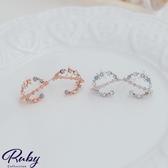 耳環 韓國直送‧立體半圓水鑽耳環-Ruby s 露比午茶