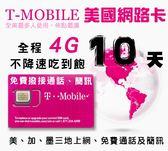 10天美國T-mobile原廠不降速吃到飽上網卡,可用於加拿大及墨西哥,含境內免費通電話、簡訊