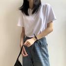 純棉短袖 純棉白色t恤女短袖夏季新款韓版純色上衣百搭寬鬆衣服女潮
