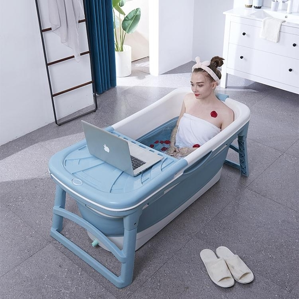 泡澡桶大人摺疊浴缸浴盆浴桶家用全身加厚成人洗澡桶大 簡而美YJT