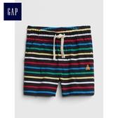 Gap嬰兒 布萊納小熊刺繡條紋短褲 442238-海藍色