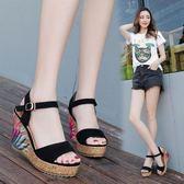 34/黑色 韓版時尚涼鞋防水臺楔型厚底鞋鬆糕露趾羅馬女鞋B0010