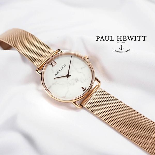 PH PAUL HEWITT / PH-M-R-M-4S / Miss Ocean Line大理石紋藍寶石水晶船錨編織不鏽鋼手錶 灰白x鍍玫瑰金 33mm