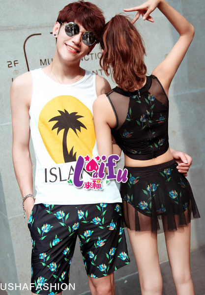 得來福泳衣,A139情侶泳衣後拉鍊紗裙微透二件式泳游泳衣泳裝比基尼正品,單女生售價950元