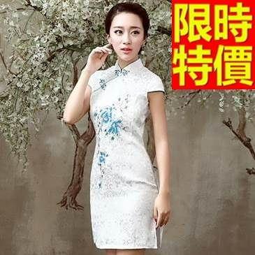 短旗袍-素雅內斂包邊立領女禮服2色65o12【時尚巴黎】