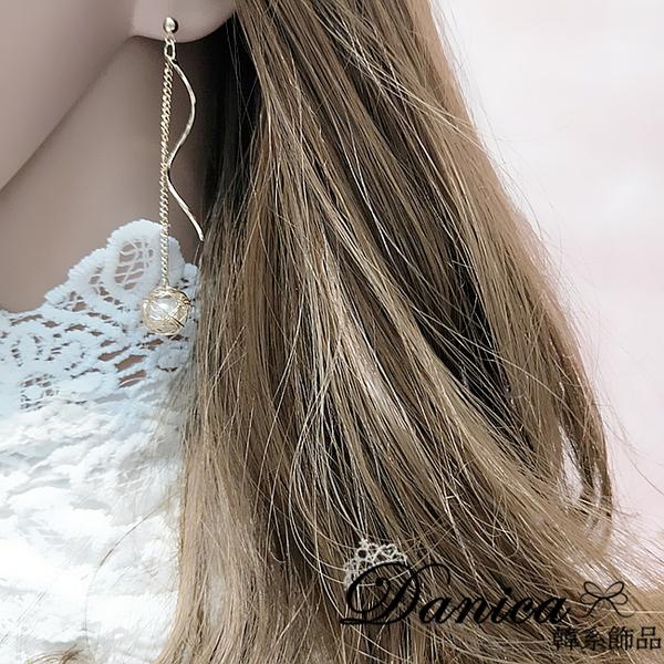現貨 韓國女神浪漫波浪流線纏繞珍珠流蘇垂墜耳環 夾式耳環 S93355 批發價 Danica 韓系飾品