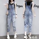 韓國九分破洞吊帶褲女2020春季新款韓版寬鬆減齡薄款闊腿牛仔褲潮【小艾新品】