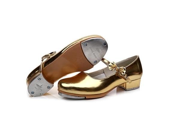 踢踏舞鞋新款女童少兒成人女款直底踢踏舞鞋金銀白紅黑可選『櫻花小屋』