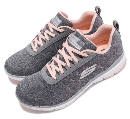 SKECHERS Flex Appeal 3.0 灰粉慢跑訓練鞋 女款-NO.13067GYLP