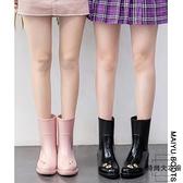 女式雨鞋女時尚款雨靴可愛中筒女士水鞋防滑水靴【時尚大衣櫥】