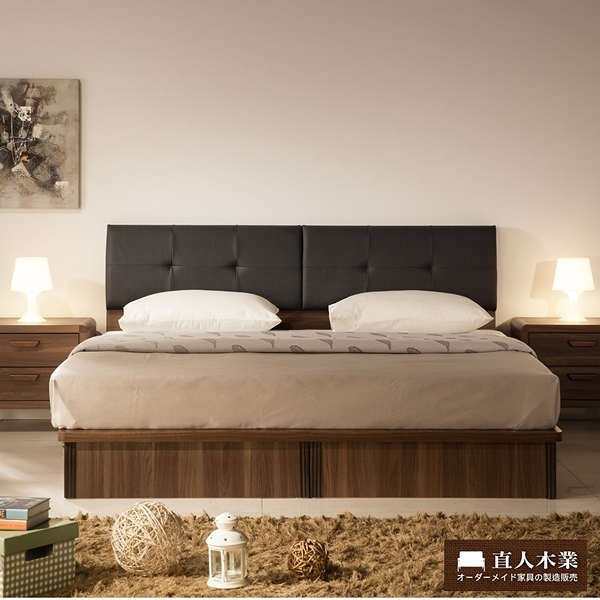 日本直人木業-Industry平面6尺加大抽屜生活床組(床底有2個收納抽屜)