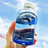 韓版原宿大容量玻璃杯海洋漸變色水杯女學生創意簡約清新檸檬杯子  居家物語