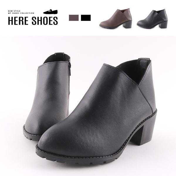 [Here Shoes] 6CM短靴 MIT台灣製 率性百搭 筒高9.5CM皮革側拉鍊尖頭粗跟靴-KG5631