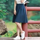 短裙女半身裙夏新款文藝學生亞麻及膝百褶裙高腰復古A字棉麻中裙 母親節特惠