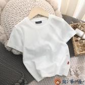 男童短袖t恤日系純棉T恤素色兒童半袖上衣夏季童裝【淘夢屋】