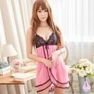 性感睡衣 粉紅深V透視柔紗二件式性感睡衣