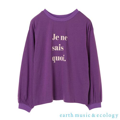 「Hot item」字母打印休閒T恤上衣 - earth music&ecology