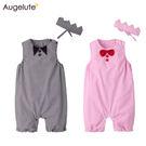 無袖連身衣 經典格紋 圓領 爬服 哈衣 附頭飾 套裝 男寶寶 女寶寶 兩件組 Augelute Baby 60355