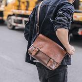 新款復古單肩包 拉錬男子背包旅行小包休閒潮男郵差包側背包  卡布奇諾