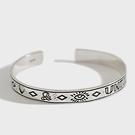 《 QBOX 》FASHION 飾品【BCS003】精致個性復古土耳其圖紋符號S925純銀手鐲/泰銀手環