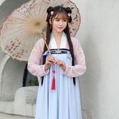 原創傳統漢服 洋裝齊胸對襟襦裙桔梗繡花日常漢元素仙女長裙