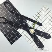 領帶帥氣刺繡黑色花領帶男韓版窄版5cm細小發型師懶人拉鍊式易拉得潮   傑克型男館
