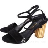 Salvatore Ferragamo SIENA85 花型粗跟麂皮繫帶涼鞋 1740032-01