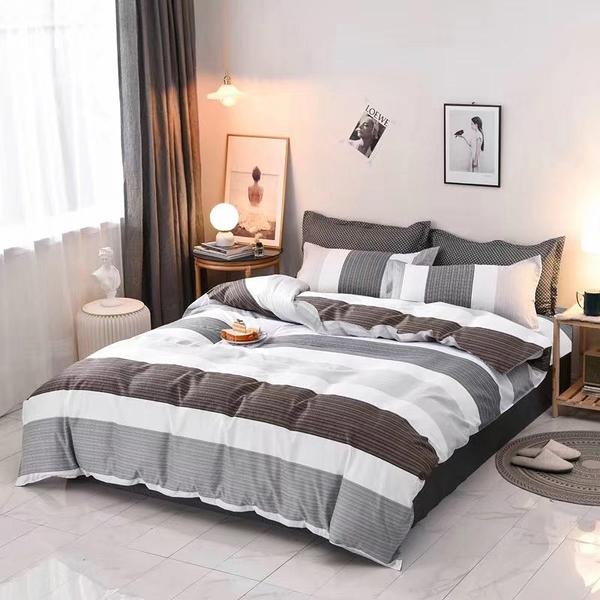 雙人鋪棉床包兩用被四件組 100%舒柔棉(5*6.2尺)《慢時光》