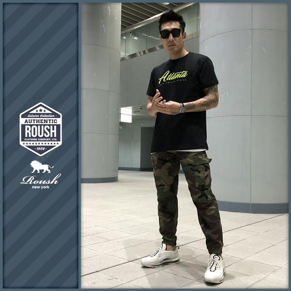 【Roush】 (迷彩)高磅數雙口袋水洗工作縮口褲 -【8321】