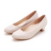MICHELLE PARK 微笑時光 圓頭圓鞋口素色低跟鞋-米色