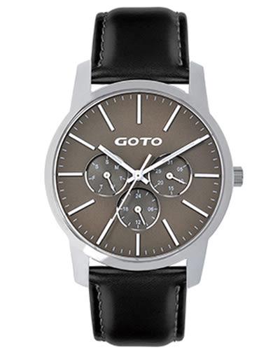 【時間道】[GOTO。錶]簡約素面皮帶腕錶/灰色面黑皮(GL0385M-23-A21)免運費
