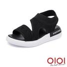 涼鞋 簡約美學飛織厚底涼鞋(黑)*0101shoes【18-F666bk】【現+預】