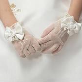 兒童婚紗花童禮服手套女童公主裙網眼彈力手套新娘結婚手套配飾