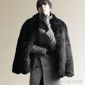 秋冬新款仿狐貍毛皮草外套人造皮草毛毛外套大衣加厚短款男裝    韓小姐