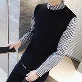 馬甲秋季新款 韓版男裝無袖毛線背心男士針織毛衣馬甲男青年修身坎肩