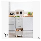 日式家用垃圾桶廚房客廳創意臥室大號雙層三層帶蓋干濕分類垃圾桶 露露日記