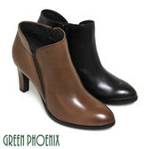 U21-27510 女款全真皮高跟踝靴  V型彈性鬆緊帶線條臘感牛皮細絨毛高跟踝靴【GREEN PHOENIX】