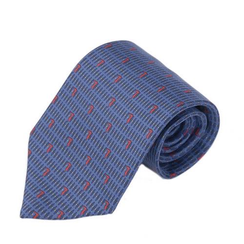 TRUSSARDI 尊榮細緻LOGO時尚領帶(藍/紅)870200-1