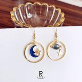 月夜星空時尚不對稱設計耳環-E