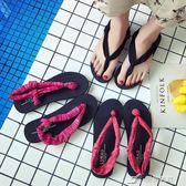 瑜伽人字拖 休閒夾拖沙灘鞋彈力布露夾趾涼鞋外穿女拖鞋潮 樂芙美鞋